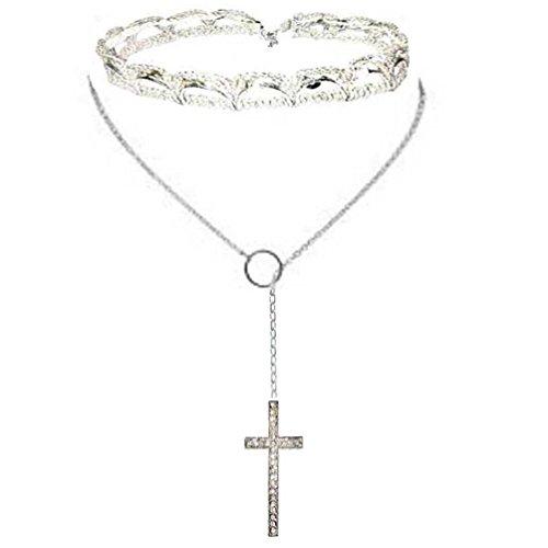 Lariat Choker Necklace Y Chain Sparkle Austrian Crystal Cross Pendant Necklaces for Women Silver Tone (Choker-Curl (Crystal Cross Choker Necklace)