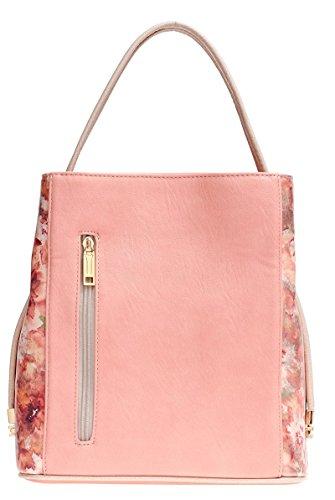 Samoe Style Pink and Metallic Floral Classic Convertible Handbag