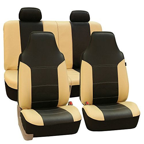 - FH GROUP FH-PU103114 High Back Royal PU Leather Car Seat Covers Airbag & Split Beige/Black-Fit Most Car, Truck, Suv, or Van