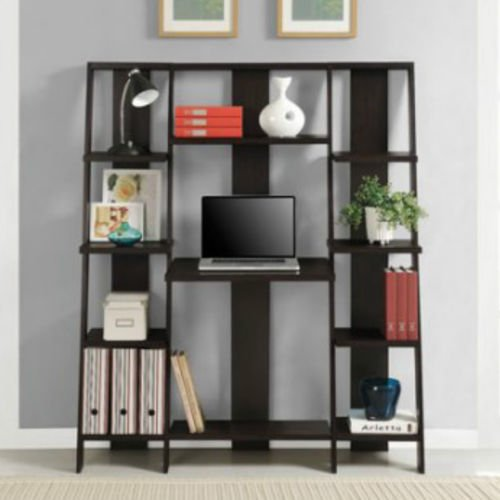 Office Computer Desk Shelf Bookcase Leaning Storage Furniture Table Solid Wood by On-anongstore (Image #4)