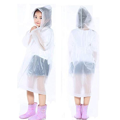 (PERTTY 2 Pcs Kids Rain Ponchos Reusable Raincoats Portable Rain Wear with Hat Hood Unisex for 6-12 Years Old Children)