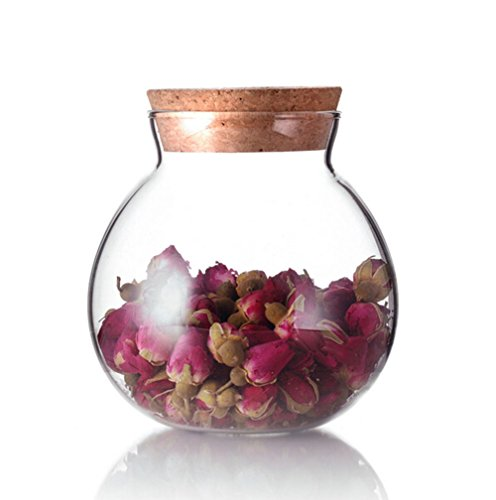 TOPWEL 500 Ml (17 Fl Oz) Round Clear Glass Favor Jar Storage Jar, with Cork Stopper ()