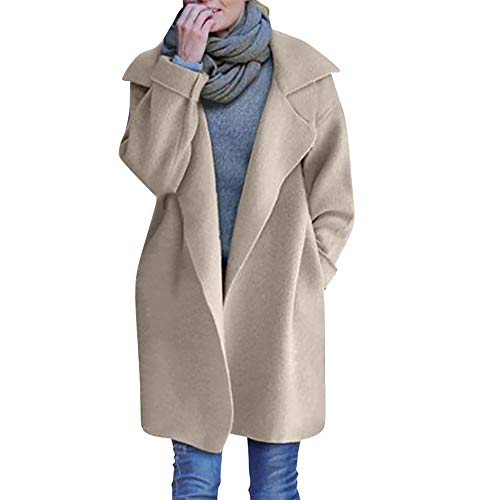- Leoy88 Ladies Cardigan Jacket Coat Tops Chunky Knitted Oversized Sweater Beige
