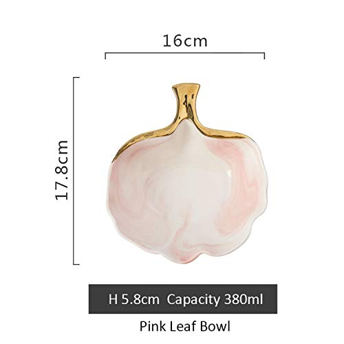 (Gold Marble Ceramic Dinner Plate Soup Plate Dish Storage Tray Tableware,Pink Leaf Bowl)
