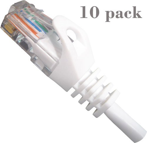 Vertical Cable 1ft cat6 Mold-Injected Patch Cord 4 Pair, 24 AWG, Stranded UTP - Multiple Colors - 10 Pack (White) (Cord Awg Patch 24)