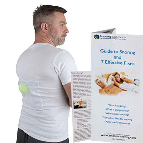 Stop Snoring T-Shirt - Most Comfortable Snoring Aid. Health Expert Recommended for Back Snorers! Eliminates Snoring by Adjusting Your Sleeping Position. Included: Guide to Snoring Ebook (Large)