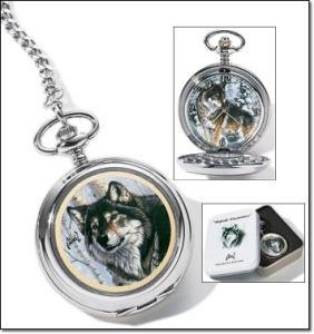 (Avon Collectible Pocket Watch -- Al Agnew Wolf Art)