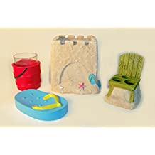 Set of 4 Beach Scene Bath Accessories including Sand Castle Tissue Box Cover, Flip Flop Soap Dish, Sand Pail Tumbler and Beach Chair Toothbrush Holder
