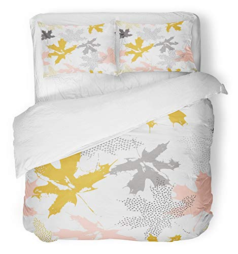 Emvency 3 Piece Duvet Cover Set Breathable Brushed Microfiber Fabric Abstract Maple Leaves in Gold and Grey Colors Autumn Filled with Dots Dashes Bedding Set with 2 Pillow Covers King Size - Brushed Gold Leaf