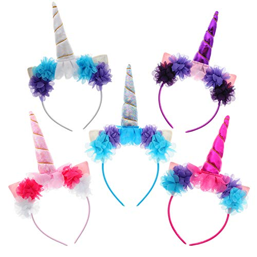 MarJunSep 5-Pack Unicorn Headbands Flowers Party Favors Supplies Birthday Decorations for Kids Girls Women Cosplay Dress Gift Cosplay -