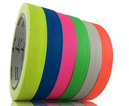 GreyParrot Tape UV Blacklight Reactive, (6 Pack)(1in x 50ft), Fluorescent Cloth Tape, 11.8mil Thickness -
