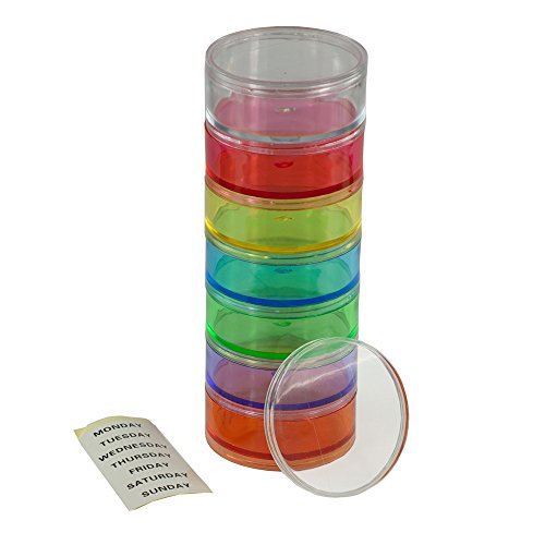 GMS 7 Day Stackable Rainbow Pill Reminder with Extra Lid - Large Size Pill Organizer