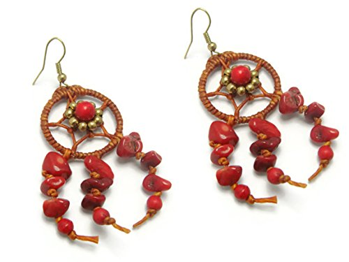 [CHADADA Handmade Jewelry Dream Catcher Reconstructed Red Coral Brass Drop Dangle Earrings (Red),] (Target Cowboy Dog Costume)