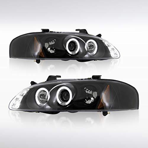 Autozensation For Nissan Sentra Black LED Halo Projector Headlights