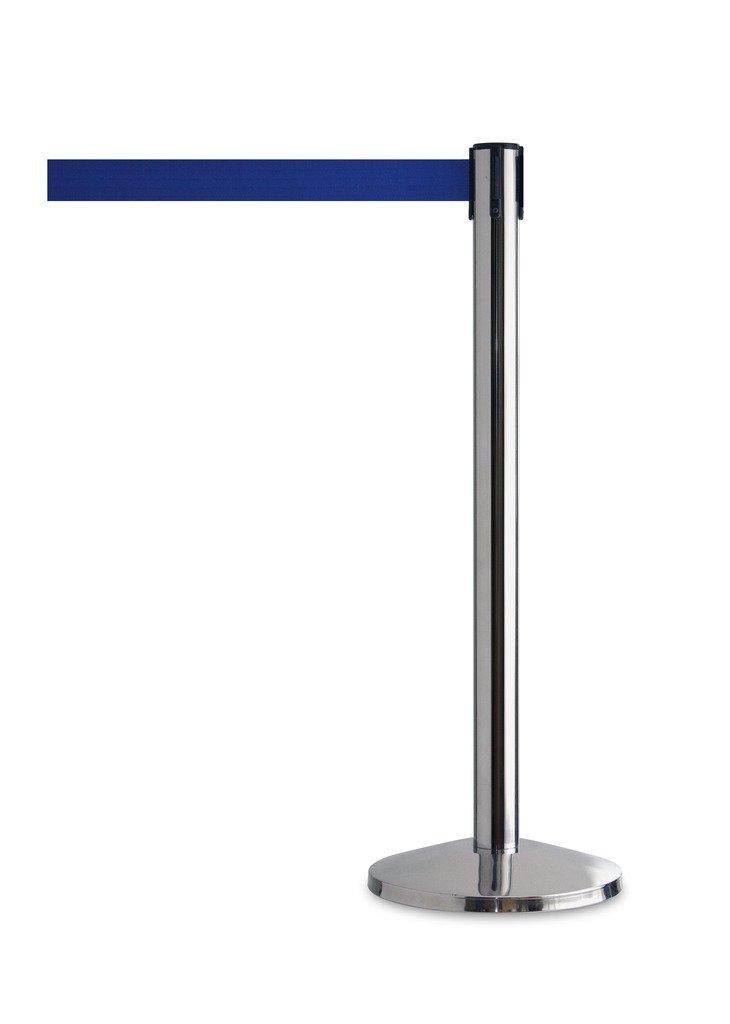 QueueWay - QWAYPOST-1P-L5 - Polished Stainless Post, 2'' Wide, 7'6'' Length Blue Belt (Set of 2)