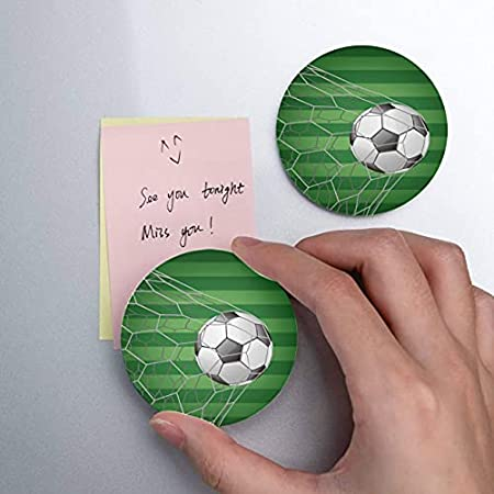 Balón de fútbol en la portería con campo de hierba Artículos para el hogar 2 piezas Abridor de botellas Imanes de nevera