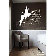 Vinyl Wall Decal Sticker Tinkerbell Quote Fairy Kids Nursery Bedroom r1895