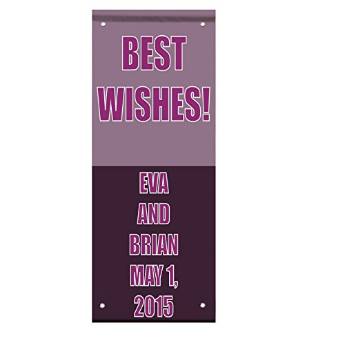 Wedding Marriage Best Wishes Wedding Party Custom Double Sided Pole Banner Sign 36 in x 48 in w/ Pole Bracket by Fastasticdeals