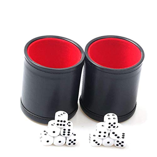 RERIVER Felt Lined PU Leather Dice Cup Set with 6 Dot Dices (Black, Pack of 2)