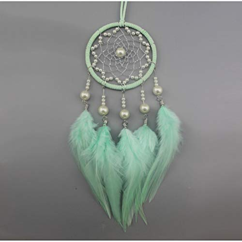 MXJJSPD Dream Catcher,Vintage Handmade Weaving Exquisite Bohemian Dream Catcher Mint Green Feathers Wind Chime Wall Hanging Vintage Craft for Car Pendant Bedroom Home Decoration Creative Gift