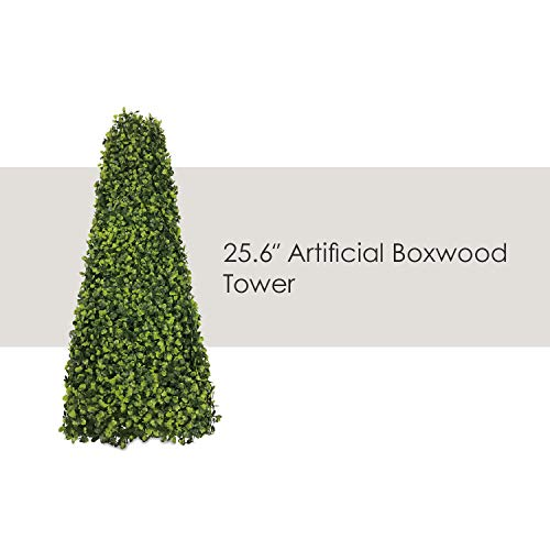 Buxus Topiary - Ecoopts Artificial Boxwood Trees Highly Realistic Decorative Buxus Tower, Topiary UV Resistant Fake Tree for Home Garden/Indoor & Outdoor Use