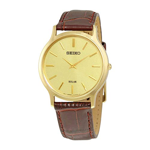 Solar Quartz,Gold tone Stainless steel Case,Leather Strap,30m WR,SUP870 ()