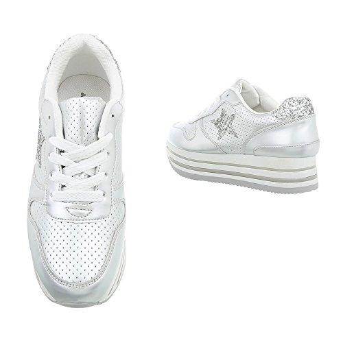 Scarpe Donna Low Piatto Sneakers Ital Da design Sneaker 3084 Argento fwBSRaOq