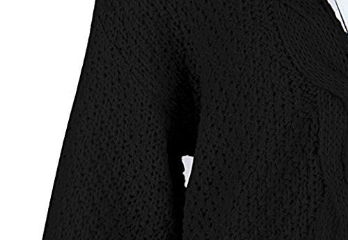 Tasche Giaccone Pullover Lanceyy Giacca Stlie Autunno Monocromo Confortevole Maglieria Lunga Vita Grazioso Anteriori Baggy Elegante Alta Outerwear Maglia Manica Nero Giorno Donna A WYfRq1YP