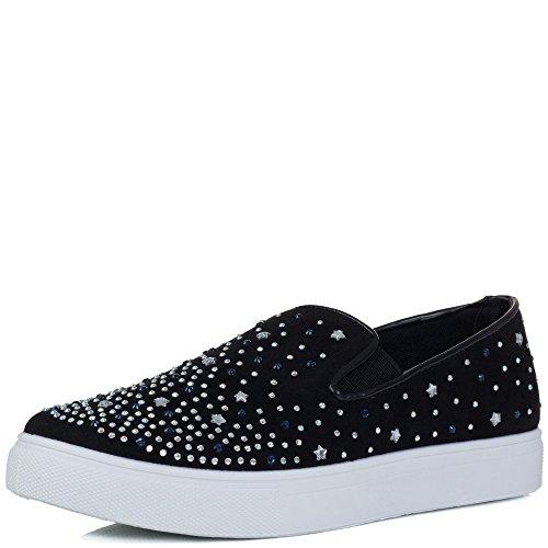 Spylovebuy Bling Bling Damen Diamante Flache Sneaker Schuhe Schwarz - Synthetik Wildleder