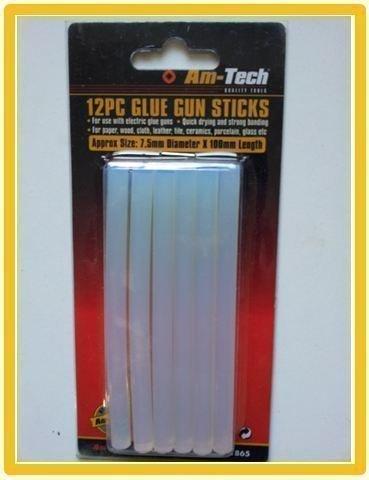 12PC GLUE GUN STICKS APROX SIZE 7.5MM DIAMETER X 100MM LENGTH By AM TECH