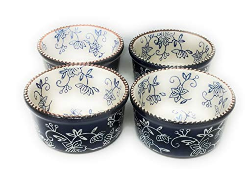 Temp-tations Set-of-4 6oz Round Ramekins Mini Bakers Single Serving (Floral Lace ()