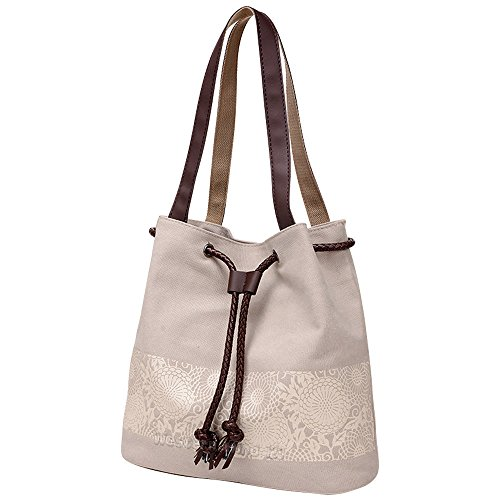 Wocharm Ladies Cotton Canvas Drawstring Shoulder Bag Totes Handbag Summer Beach Bag Women Hobo Shoulder Bag Bohemian Style Messenger Bag Beige
