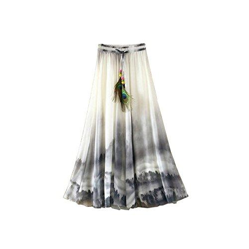 Kaxuyiiy Femmes Bohmien fleur peinture chinoise Plume de paon taille lastique plage fte maxi t longue Jupe Long Skirt Peinture Chinoise Noir