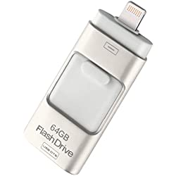USB Flash Drive Data Drive Lightning External Memory Storage 16GB/ 32GB for Desktop PC/iOS/iPhone/ipad/Android , silver grey , 32