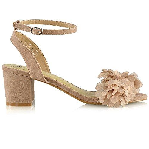 ESSEX GLAM Womens Ankle Strap Heels Nude Faux Suede Low Block Heel Fringed Sandal Shoes 9 B(M) US (Trim Heel Block)