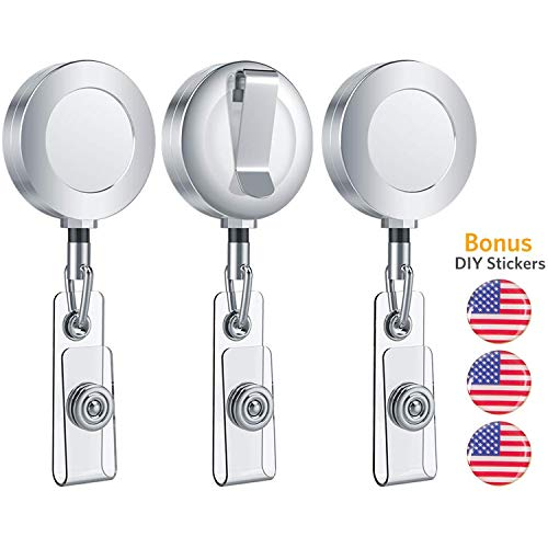 Retractable Badge Holder, Aerb Pack of 3 Heavy Duty ID Badge Holder Reel Clip with Stainless Steel Cord and DIY USA Flag Stickers for Men, Women, Nurse, Officer, - Stainless Badge Clip Steel