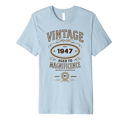Mens Vintage Aged To Magnificence 1947 70th Birthday Gift T-shirt 3XL Baby Blue