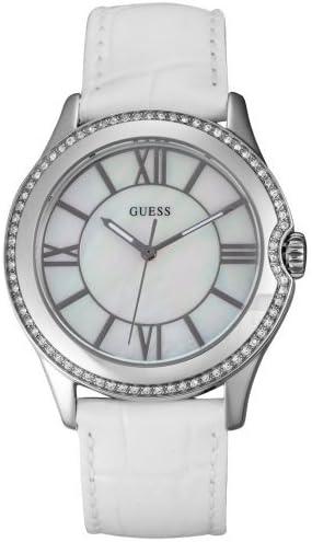 Guess – W85116L1 – Montre pour Femmes, Bracelet en Cuir Couleur Blanc
