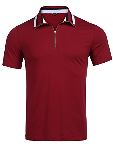 COOFANDY Men's Short Sleeve Polo Shirts Slim Fit Golf Shirt Quarter Zip Polo T-Shirts Wine Red