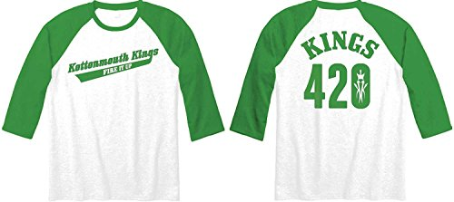 Kottonmouth Kings - Mens 4:20 Baseball Jersey, Size: Large, Color: White/Kelly