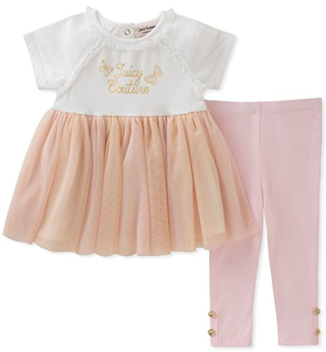 Juicy Couture Baby Girls 2 Pieces Tunic Sets, White/Pink/Gold, 3-6 Months by Juicy Couture