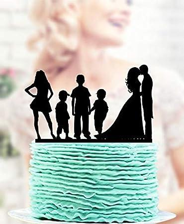 Family Bride Groom Child Boy Son Silhouette Wedding Cake Topper Decoration