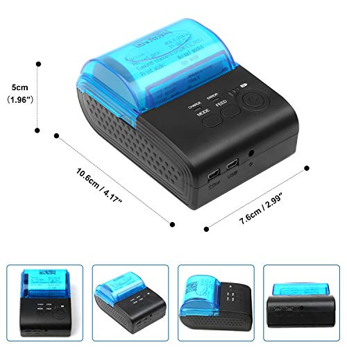 YEGOOD Portable Thermal Printer- Mini Wireless Bluetooth 58mm High Speed  Direct Thermal Printer, Compatible with Android & iOS & Windows & Linux