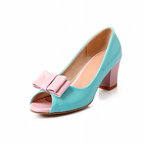 Carolbar Cute Womens Sweet Assorted Colors Bows Peep Toe Barbie Style Chunky Mid Heel Dress Pumps Shoes Blue TUhpZr5