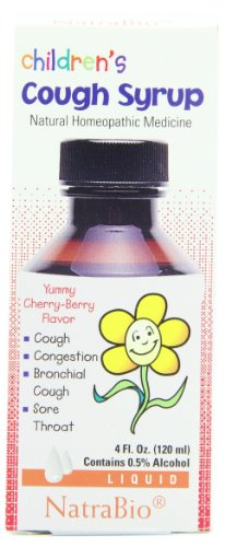 Syrup Childrens Cherry (NatraBio Children's Cough Syrup, Liquid, Yummy Cherry-Berry Flavor, 4 Fluid Ounce (120 ml))