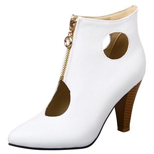 Embudo Verano Tacon White al Moda Ancho COOLCEPT Mujer Zapatos Botas Tobillo Hueco Cerrado qT8qZx1g