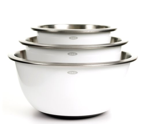 OXO Good Grips 3-Piece Stainless-Steel Mixing Bowl Set, White
