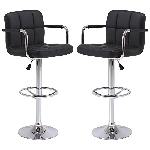 Vogue Furniture Direct Black Leather Adjustable Height Swivel Barstool Set with Armrest and Footrest (Set of 2) VF1581021-2...