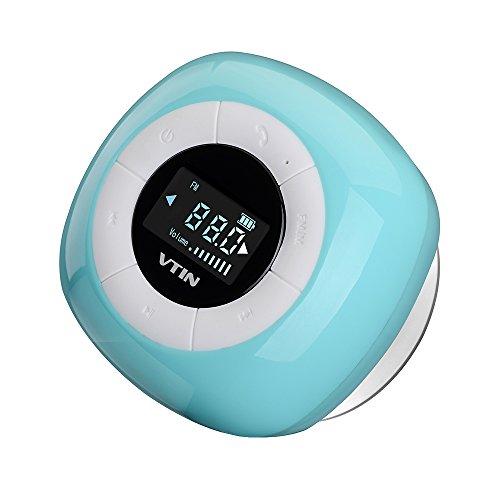 VTIN Mini Bluetooth 4.0 Lautsprecher Wasserdicht Wireless Tragbare Outdoor Indoor Speaker FM Radio mit Mic, LCD Display, Saugnapf, Subwoofer Effekt für Handys iPhone - Blauen