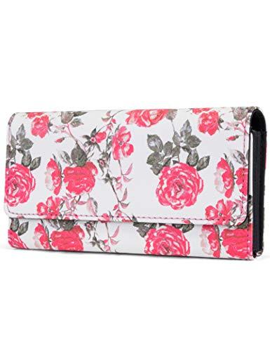 (Mundi File Master Womens RFID Blocking Wallet Clutch Organizer With Change Pocket (One Size, Rose Floral))